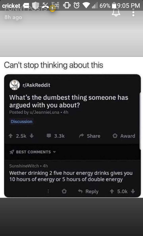I think it's 5 hours, double the energy - meme
