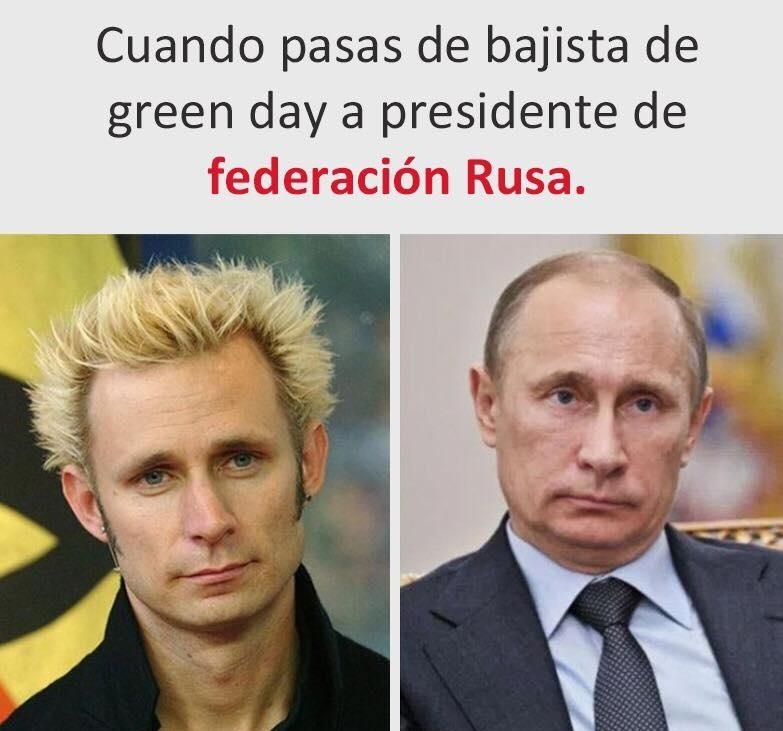 De bajista de Green Day a presidente de la Federación Rusa - meme