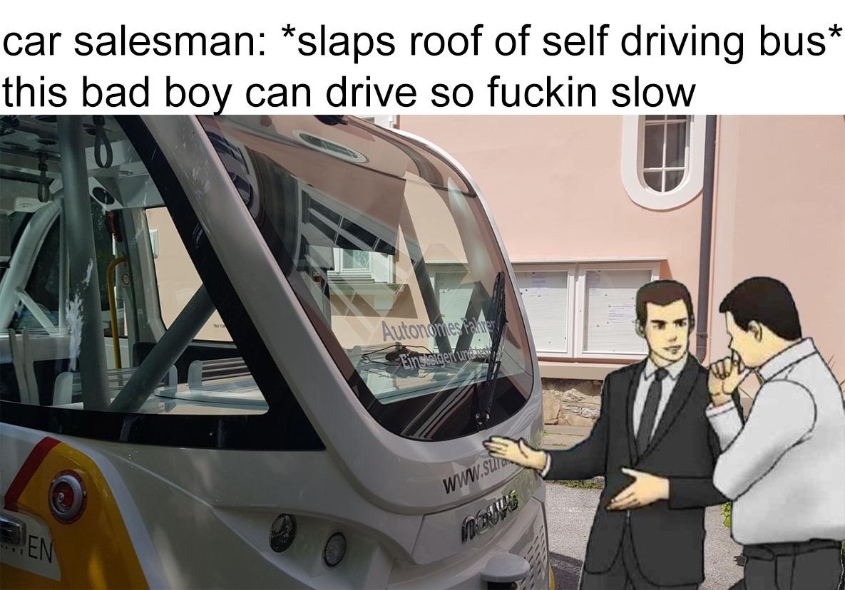 Tem selfdriving buses - meme