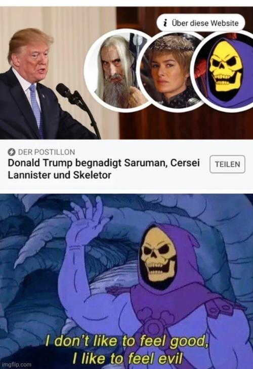 Donald Trump pardons Saruman, Cersei Lannister and Skeletor - meme