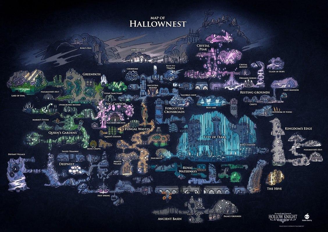 el mapa del hallownest, PD: yo antes pensaba que se llamaba hollownest. - meme