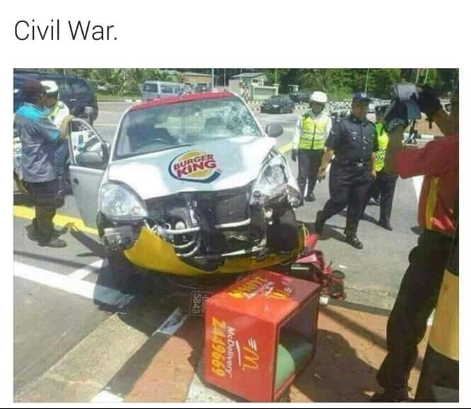 Guerra civil entrw fast foods! - meme