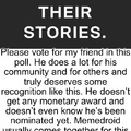 please pass through moderation and vote for Wes. Thanks
