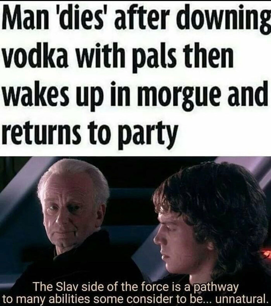 title uses the slav side of the force - meme