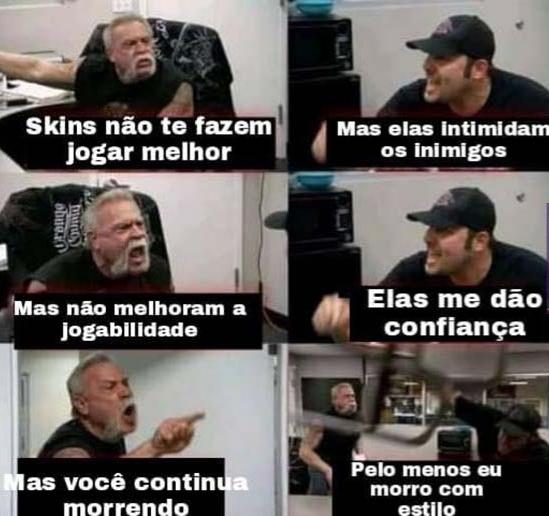 Skin é coisa gay - meme