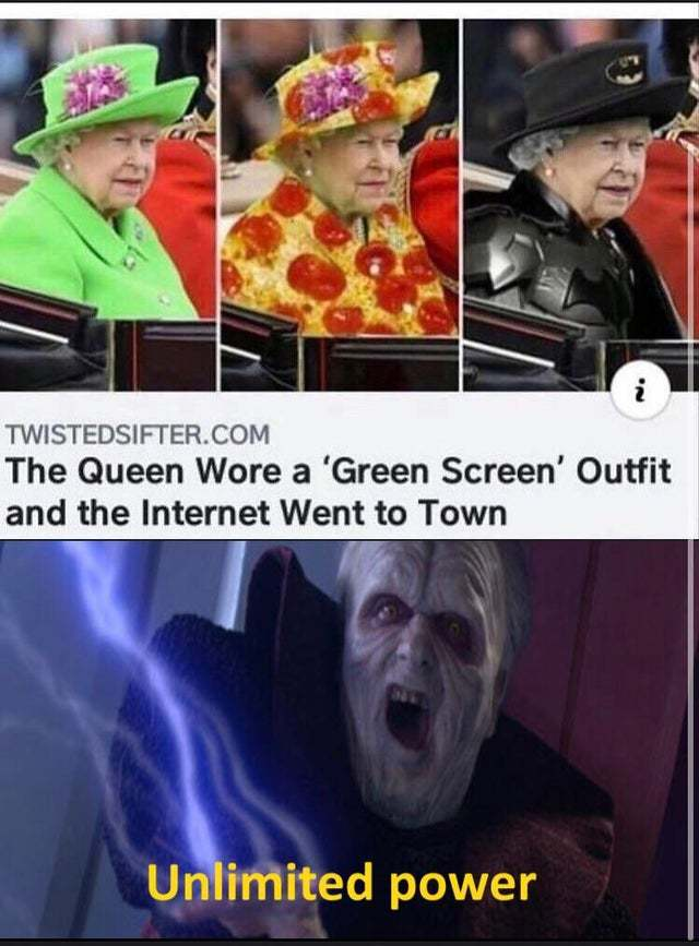 The Queen wore a green screen outfit and the Internet went to town - meme