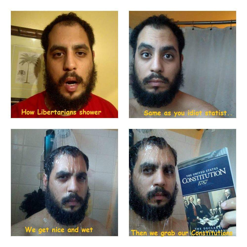 Who doesn't shower with a constitution - meme