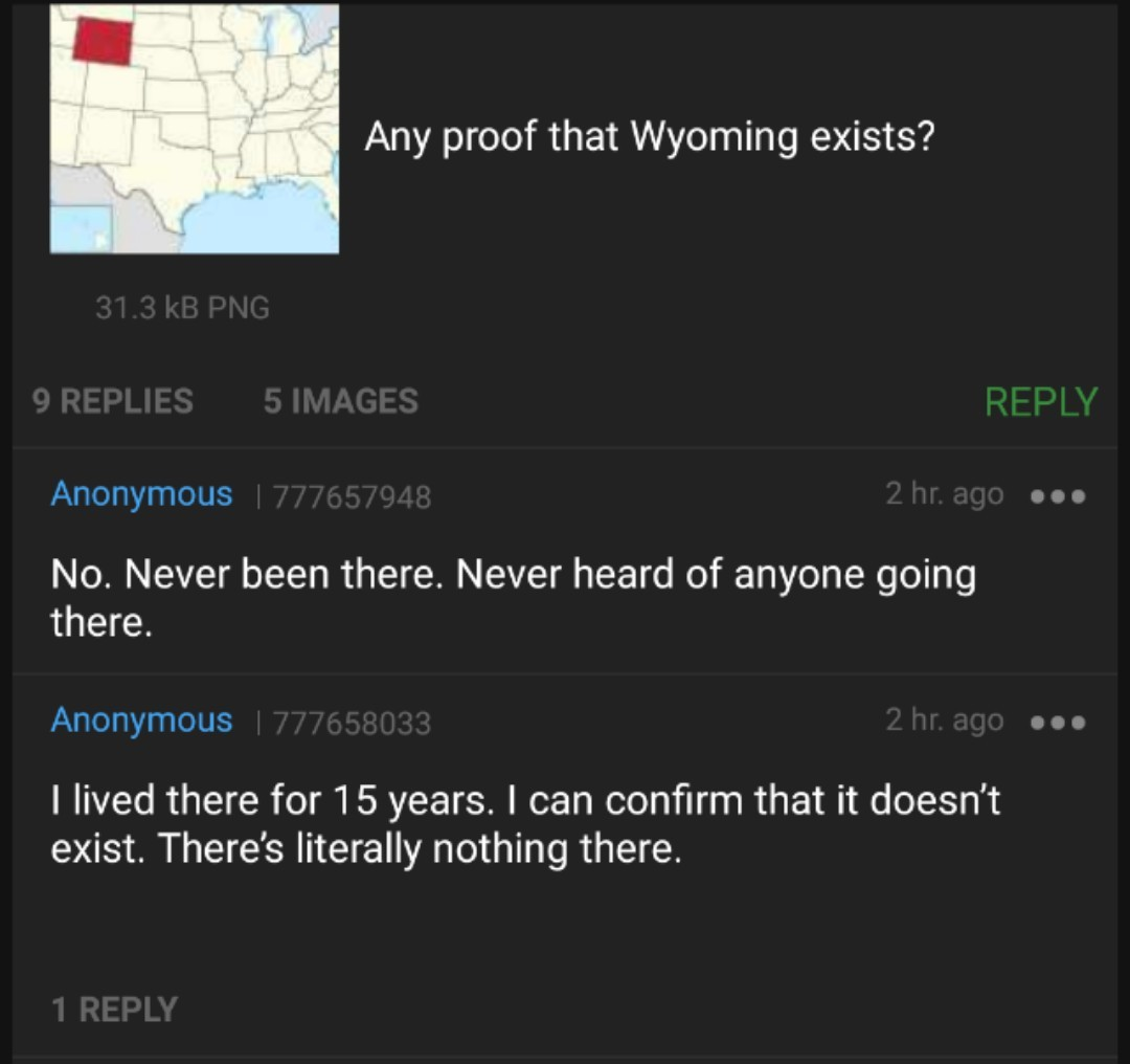 Wyoming ain't shit - meme
