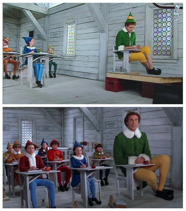 "How forced perspective was used to film Will Ferrel in ""Elf"" - meme"