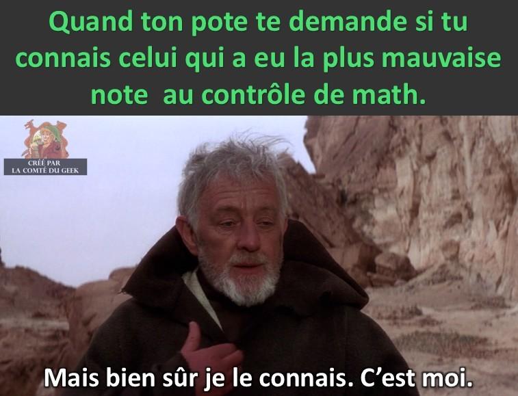 Le contrôle de math par Obi-Wan - meme