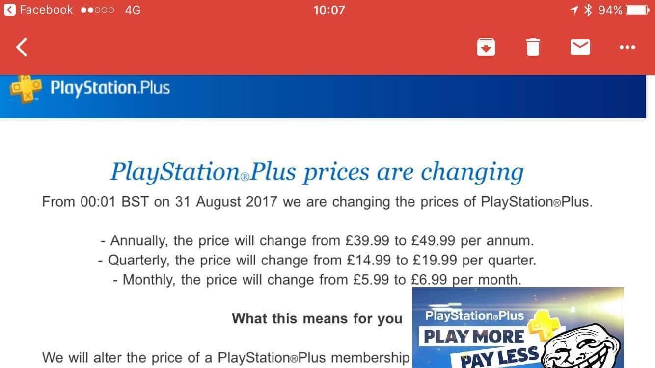 PlayStation Plus Price Increase... - meme