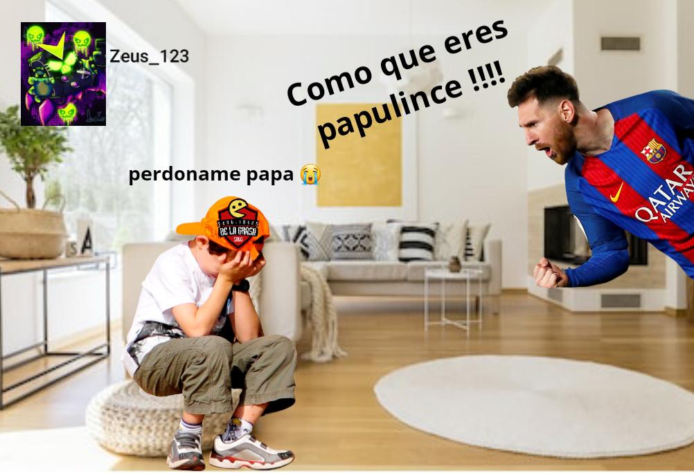 Messi golpeara a su hijo papulince - meme