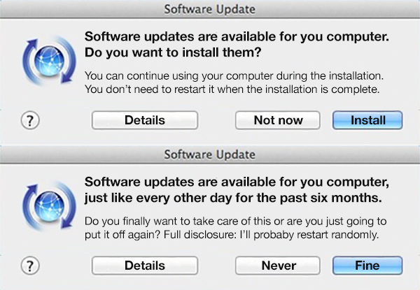 What I see on software updates - meme