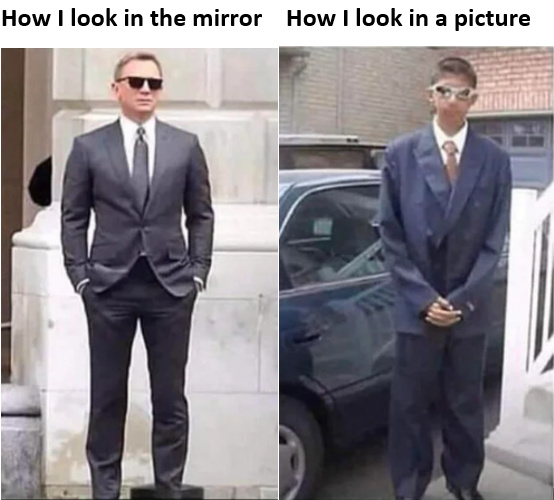 How I look in the mirror vs how I look in a picture - meme