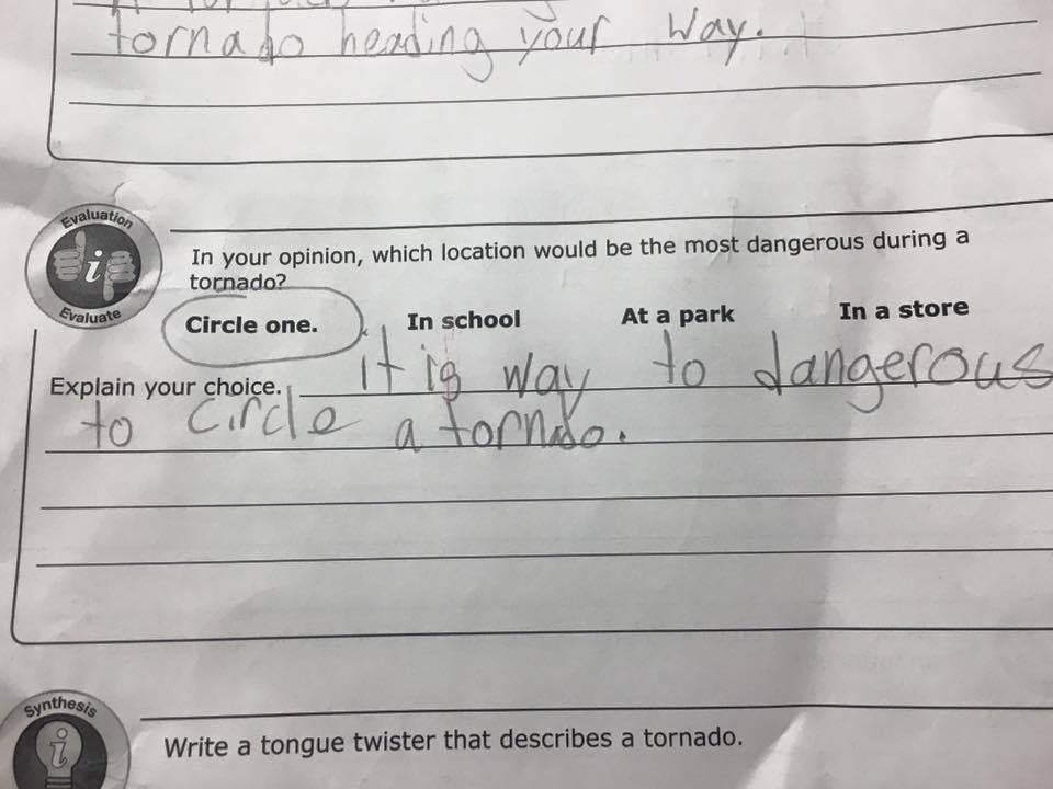 This kid's take on tornadoes... - meme