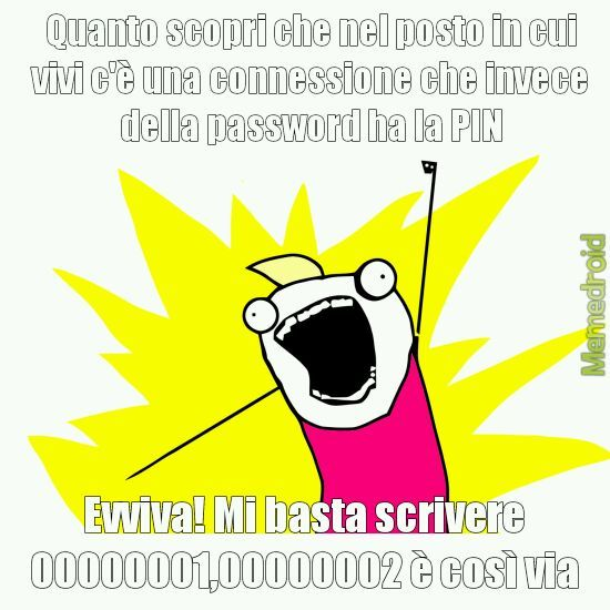Viva le password con i numeri - meme