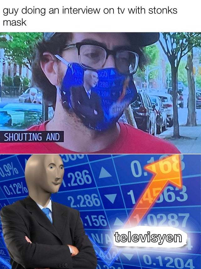 Guy doing an interview on TV with stonks mask - meme