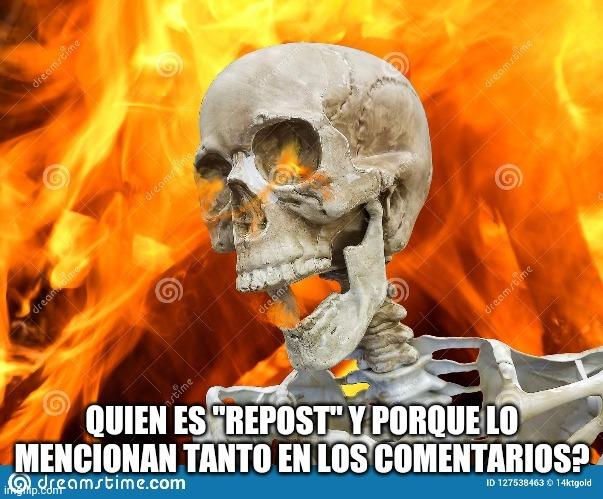 Esqueleto en llamas - meme