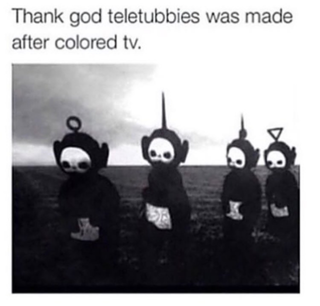 Teletubbies in black and white - meme