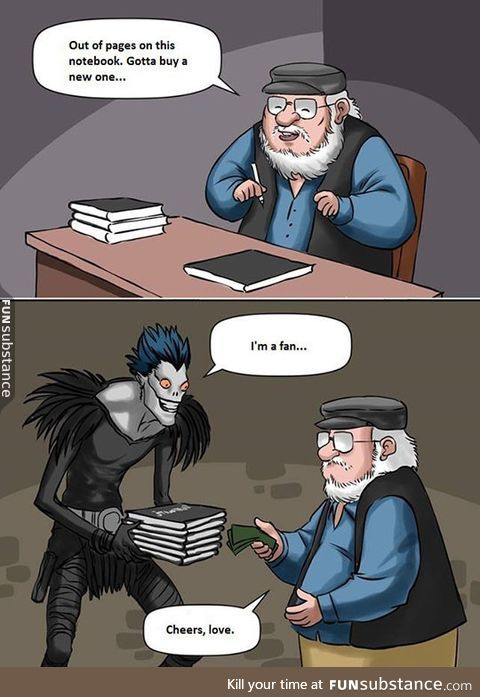 George r.  R. Martin buying his notebooks - meme