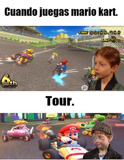 Tengo el Mario kart wii. super mario kart, y mario kart 64. Tenía el amrio kart 8 deluxe pero se me daño la switch. - meme