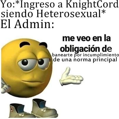 En KnightCord es un principio el no ser heterosexual, si te banean, probablemente es porque sos una persona normal. - meme