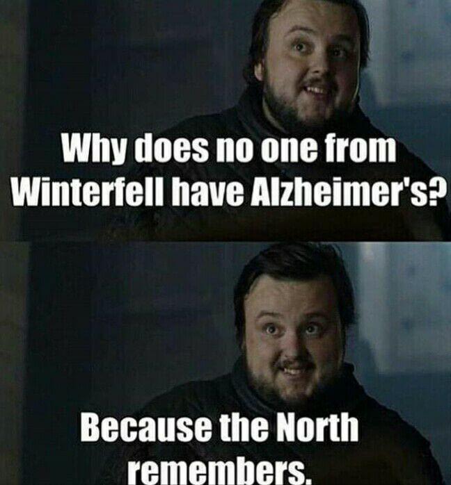 Por que ninguém de Winterfell tem alzheimer? Por que o norte de lembra :v - meme