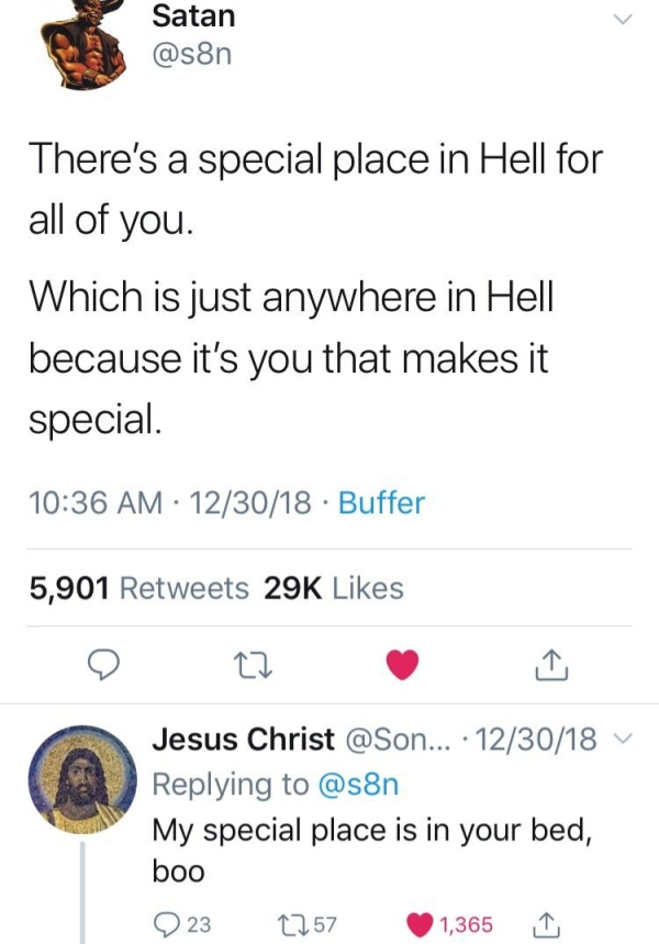 Damn satan, you getting bodied by Jesus - meme