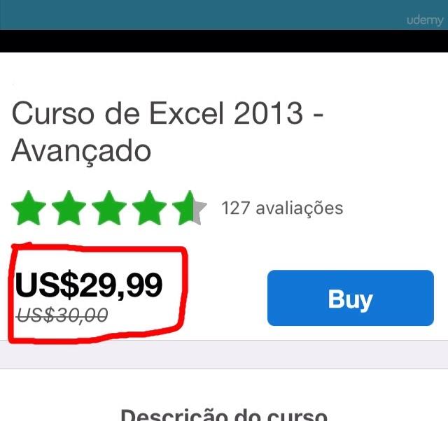 Promoção de carnaval, 0,03% de desconto no curso de Excel! - meme
