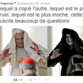 A gauche une vraie photo du pape et à droite une vraie photo de stars Wars...... c'est troublant non?