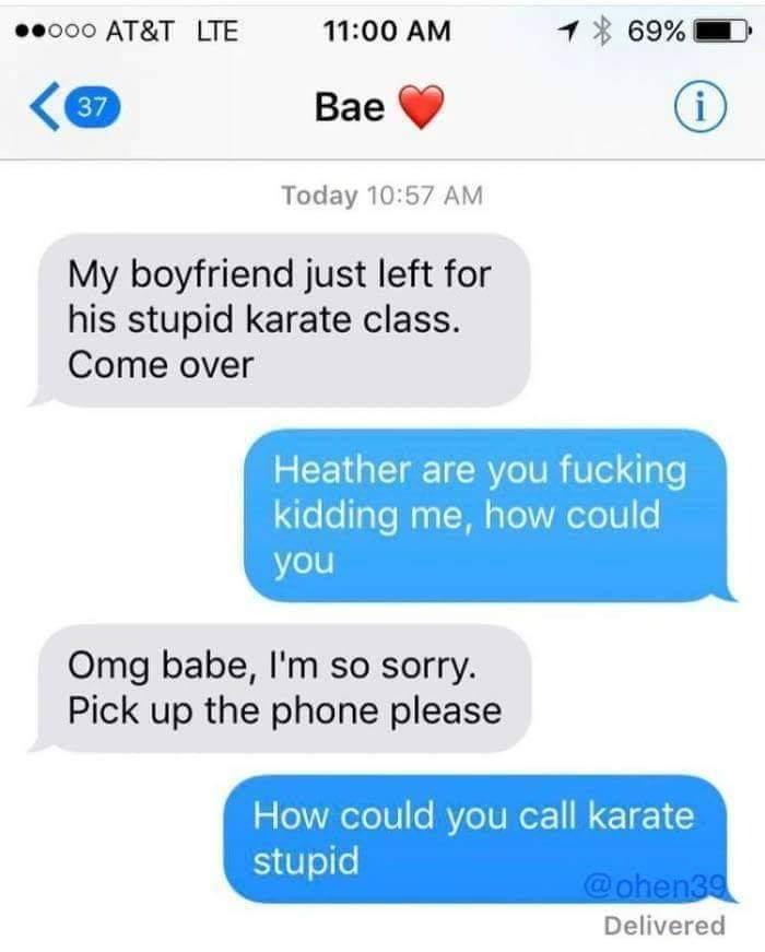 How could she call karate stupid? - meme