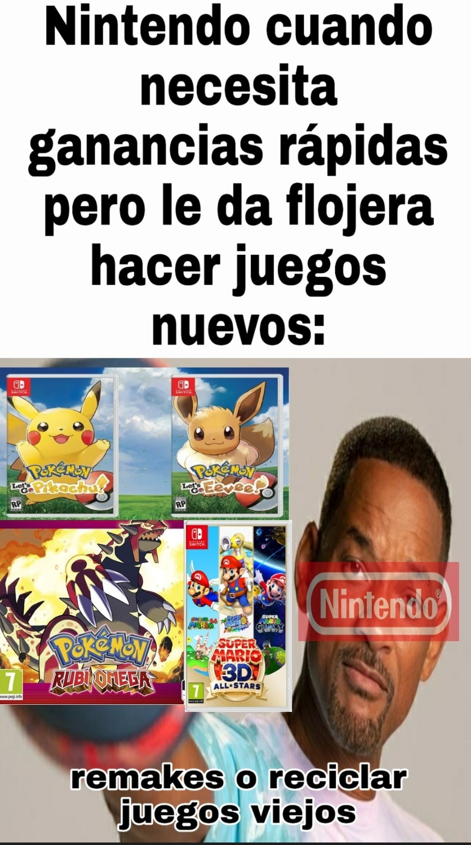 Ha reciclado pokemon rojo 3 veces no jodas... Pokemon rojo, pokemon rojo fuego y pokemon lets go Pikachu, si sé capitán lento, pero me demoré en encontrar la plantilla - meme