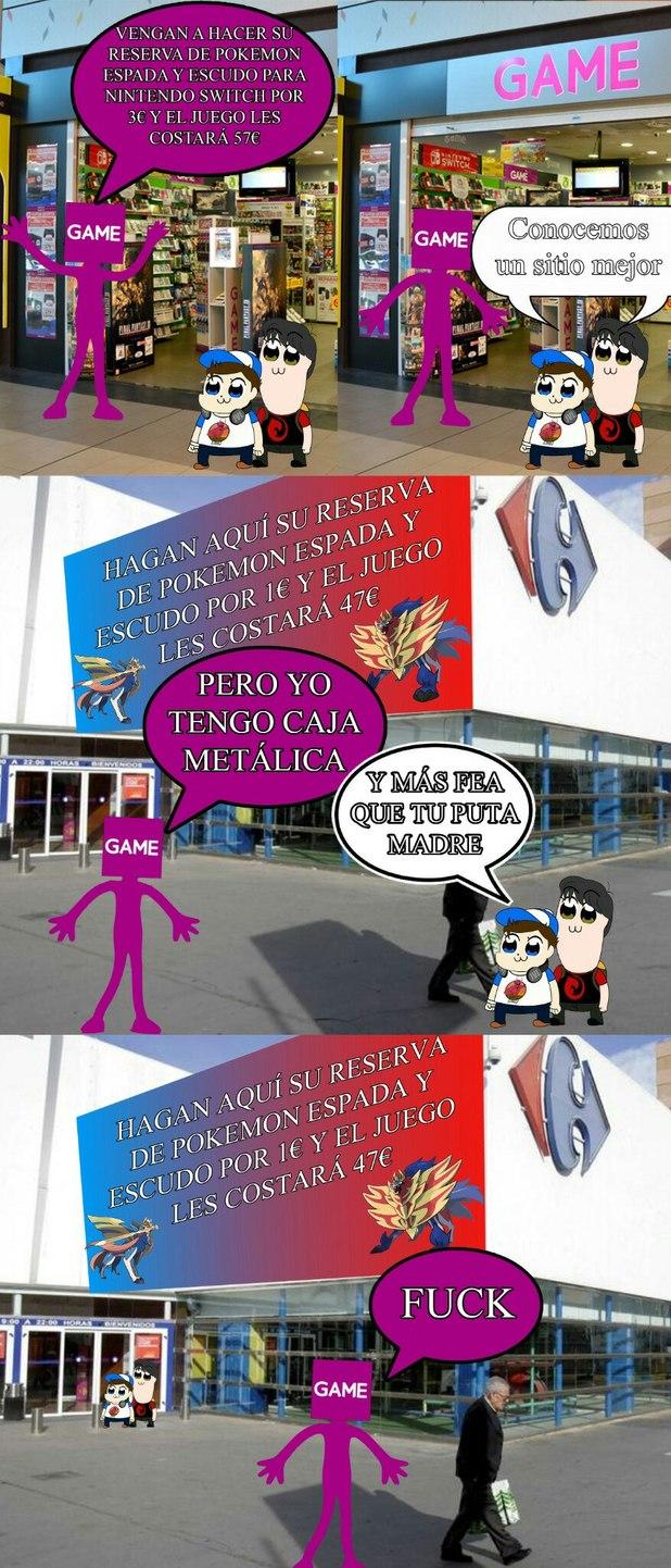 Reserva de Pokémon Espada y Escudo de Game vs Carrefour - meme
