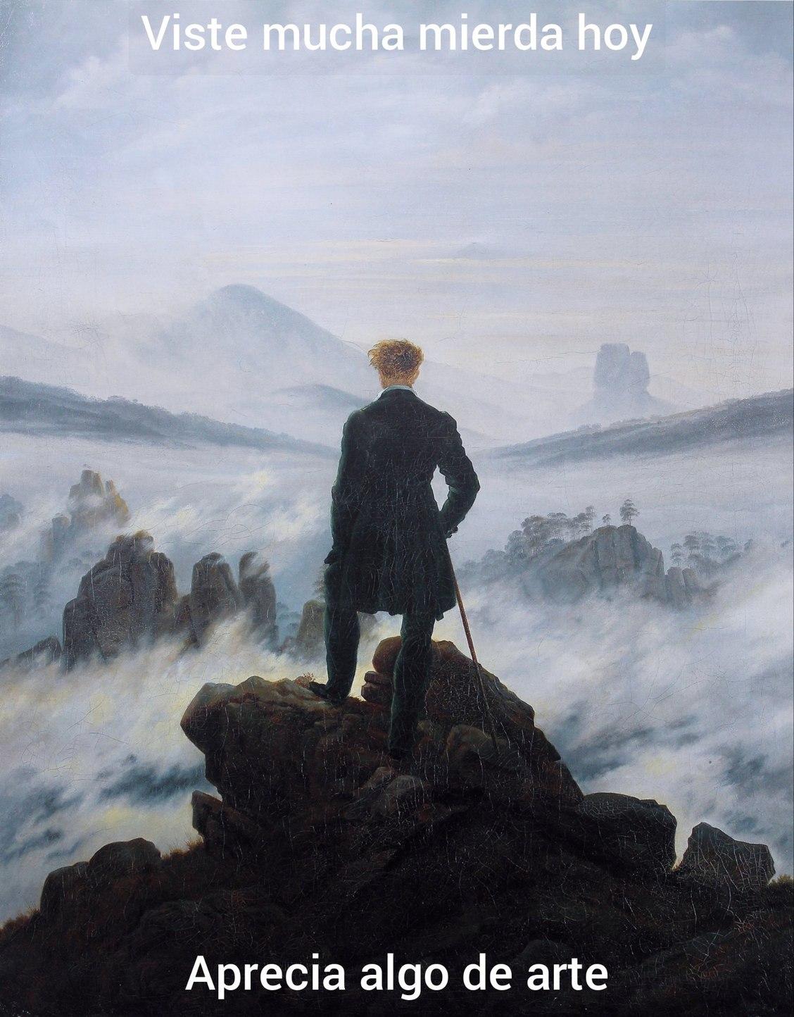 El caminante sobre el mar de nubes de Caspar David Friedrich - meme