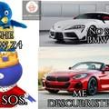 Si no entienden técnicamente el supra es BMW por su motor y interiores porque fue un proyecto conjunto. :) Estimado moderador si considera que el meme es una mierda no dude en rechazar, muchas gracias.