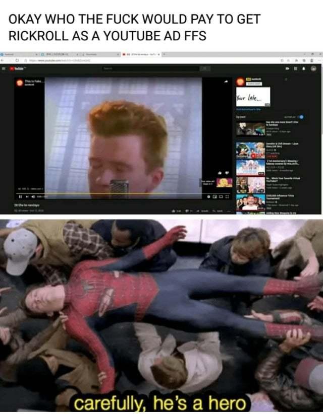Rickroll as Youtube ads - meme
