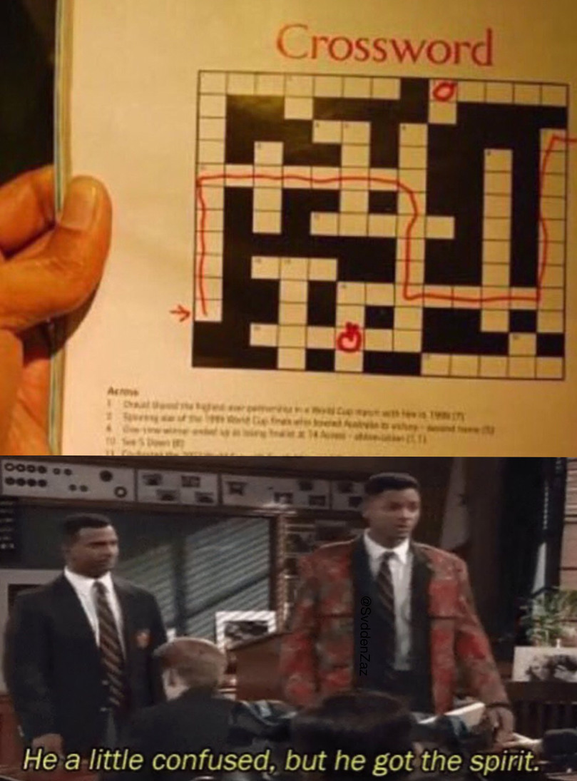 Confusion in crosswords - meme