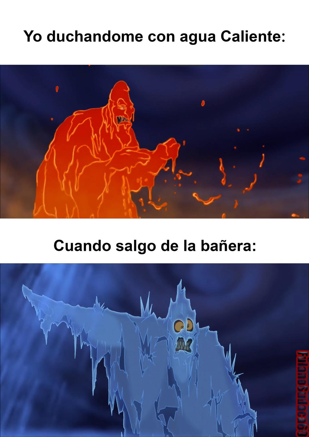 La Hipotermia post-ducha - meme