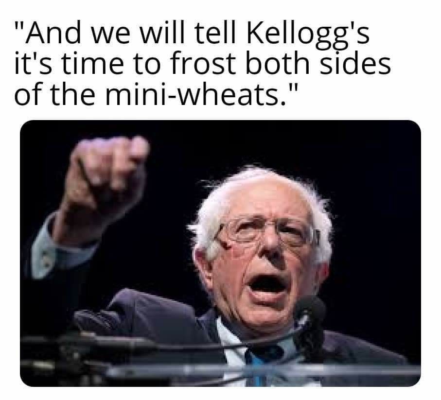 Bernie's new platform... but you only get half the bowl - meme