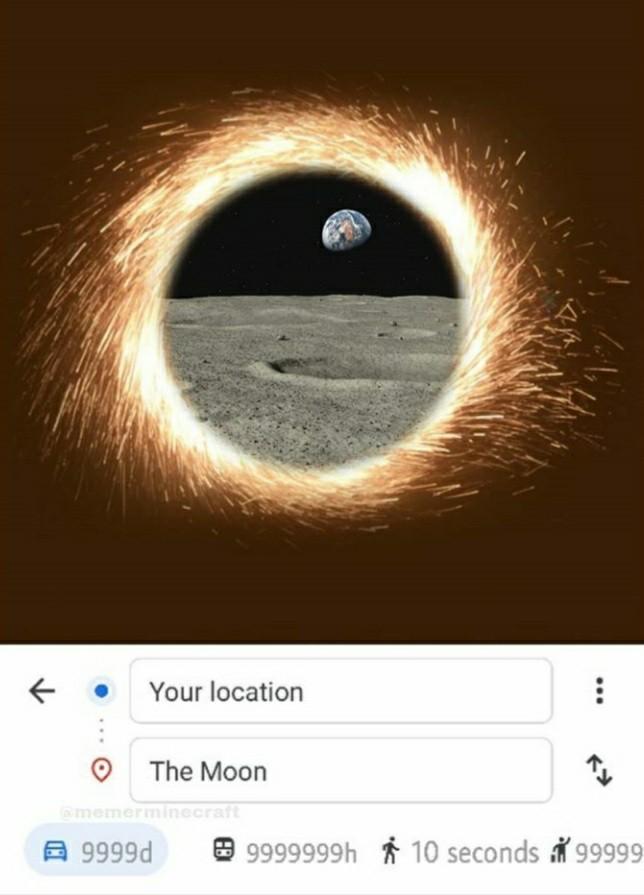10sec pour aller de Terre à Lune OwO - meme