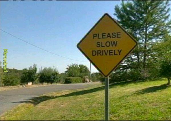 Please, slow drively - meme