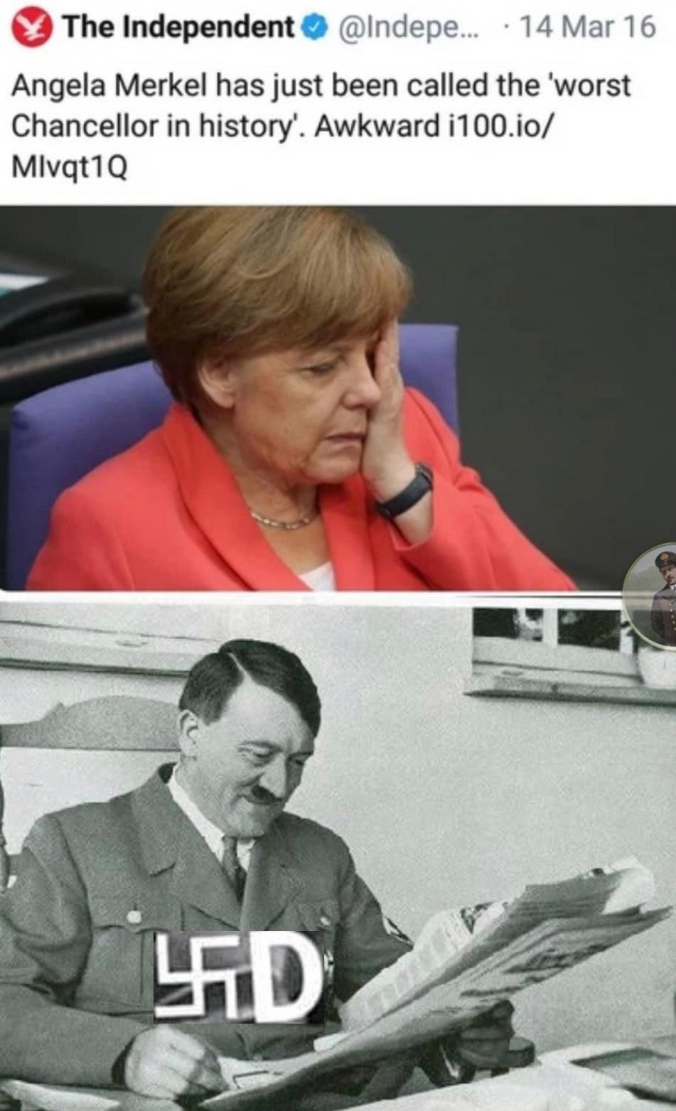 Tradución: Angela Merkel ha sido llamada la peor canciller de la historia. Pd: se lo merece - meme