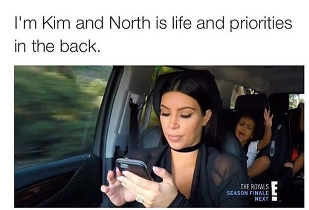 Kim doesn't give 1 shit - meme