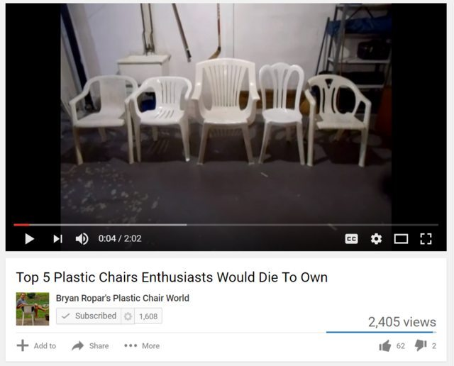 Plastic chair enthusiasts - meme
