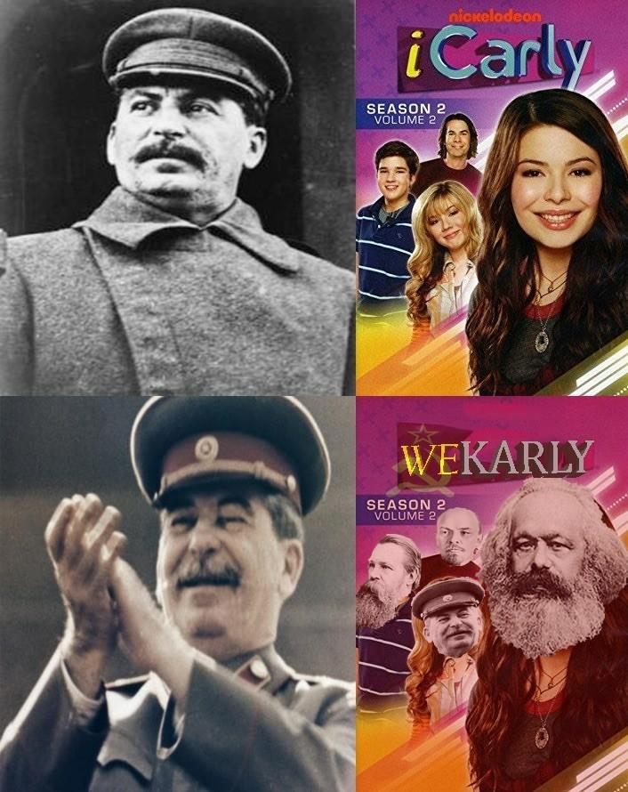 Comrade Stalin give me a mustache ride! - meme