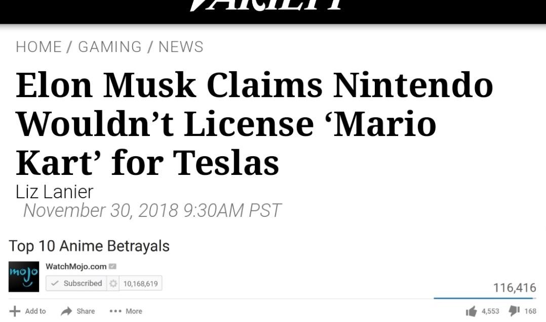 Mario already drives in a Mercedes so why not a Tesla? - meme