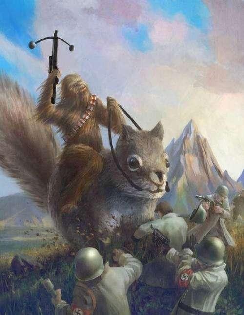 Chewbacca on a giant squirl killing nazis - meme