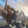 Chewbacca on a giant squirl killing nazis