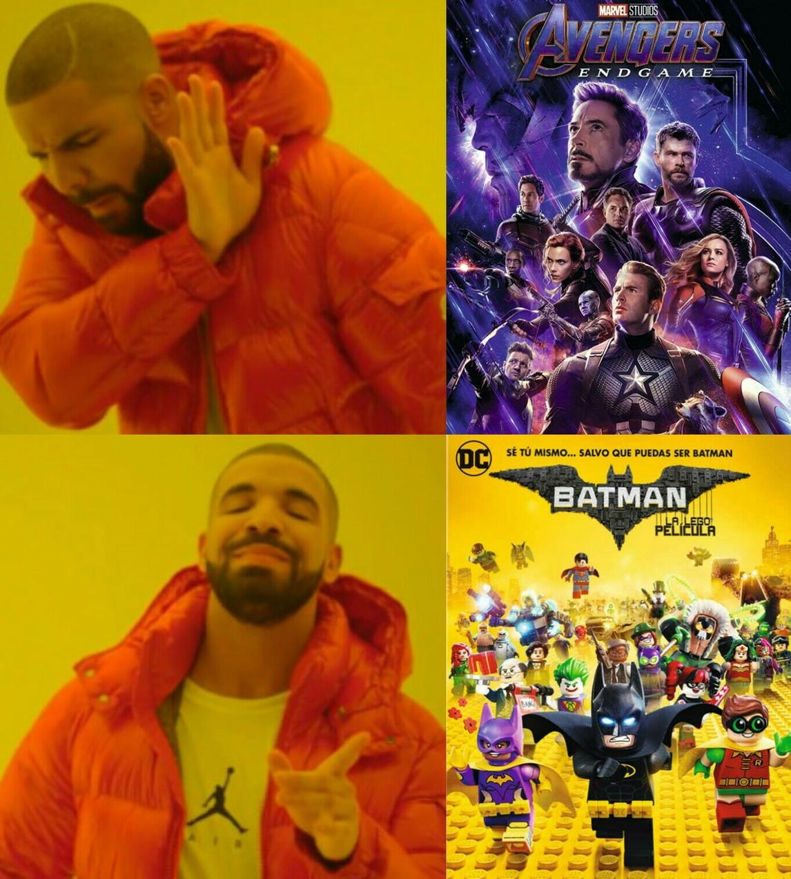 Le virgin Endgame VS le chad LEGO Batman la película - meme
