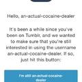 I'm still an actual cocain dealer